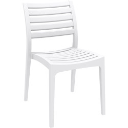 Ares Hospitality Dining Chair Indoor/Outdoor Use Stackable White Polypropylene