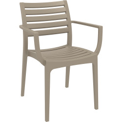 Artemis Hospitality Dining Chair With Arms Indoor/Outdoor Use Taupe Polypropylene