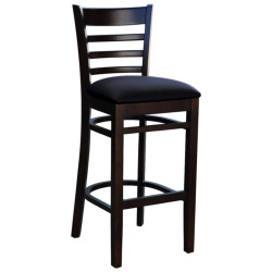 Florence Indoor Barstool  Solid Timber Chocolate Frame Black Padded Vinyl Seat