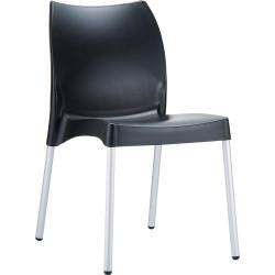 Vita Hospitality Dining Chair Aluminium Legs Indoor/Outdoor Use Black Polypropylene