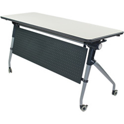 Syncline Folding Student Desk Two Person 1500Wx550D Grey Frame White Top