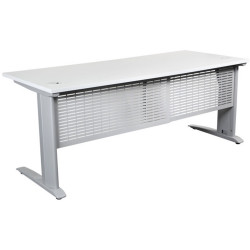 Summit Straight Desk Silver Steel Frame With Cable Beam 1500Wx750D White Top