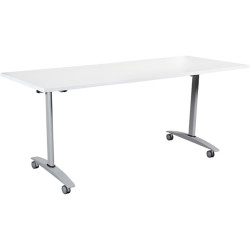 Summit Flip Top Table Silver Frame With Castors 1500Wx750mmD White Top