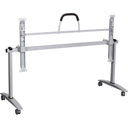 Summit Flip Top Table Silver Frame With Castors 1800Wx750mmD White Top