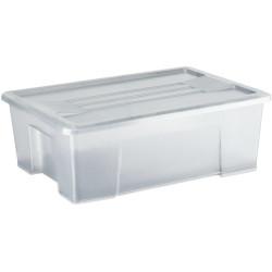 Italplast 4 Litre Plastic Storage Box Stackable With Handles Tranparent Graphite