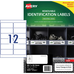 Avery Heavy Duty Removable Laser Labels L4776 99.1x42.3mm White 240 Labels, 20 Sheets