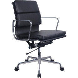PU900M Medium Back Executive Chair Chrome Base and Arms Black Padded PU Seat and Back