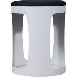 Rapidline Connect Ottoman White Steel Base  Black Padded Fabric Seat