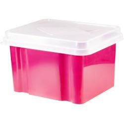 Italplast 32 Litre Plastic Suspension File & Storage Box Watermelon Base Clear Lid