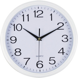 Italplast Wall Clock 43cm Round With Large Numbers White Frame White Face