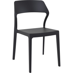 Snow Hospitality Dining Chair Heavy Duty Indoor/Outdoor Use Black Polypropylene