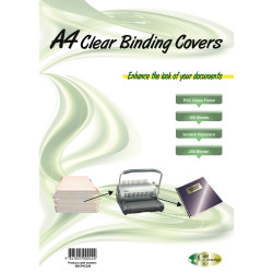 Gold Sovereign Heavy Duty Binding Covers 250 micron A4 Clear Pack of 100