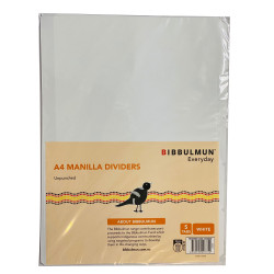 Bibbulmun Manilla Divider A4 5 Tab Unpunched Plain White