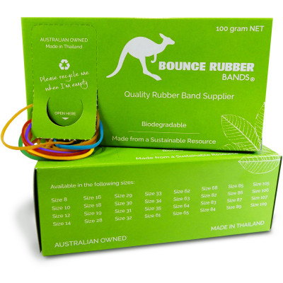 Bounce Rubber Bands Assorted Sizes and Colours Box 100gm
