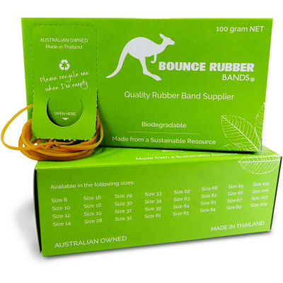 Bounce Rubber Bands Assorted Sizes Box 100gm