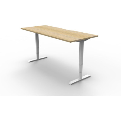 Boost Electric Height Adjustable Desk 1800Wx750D Oak Top White Frame