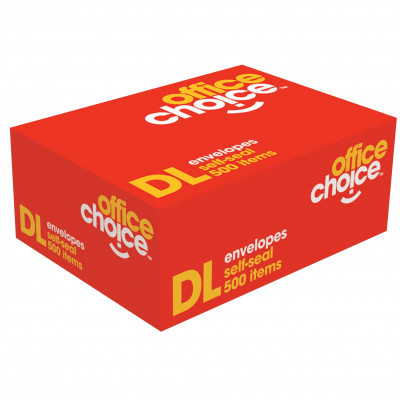 Office Choice DL Envelopes 110x220mm Self Seal Secretive Box Of 500