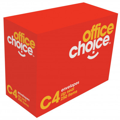 Office Choice C4 Envelopes 324x229mm Strip Seal White 100G Box Of 250