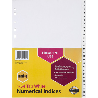 Marbig Plastic Divider A4 Indices 1-54 White