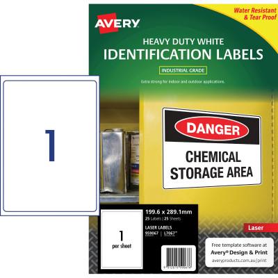 AVERY L7067 DURABLE H/D LABEL Laser 1/Sht 199.6x289.1mm Wht Pack of 25