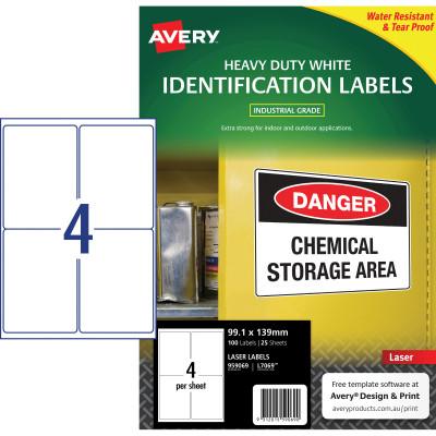AVERY L7069 DURABLE H/D LABEL Laser 4/Sht 99.1x139mm Wht Pack of 100
