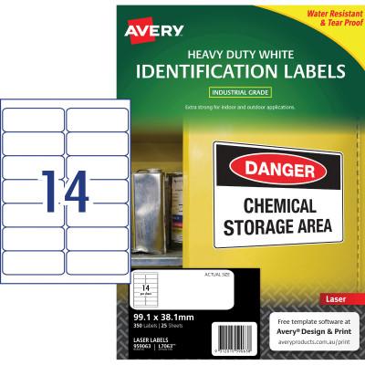 AVERY L7063 DURABLE H/D LABEL Laser 14/Sht 99.1x38.1mm Wht Pack of 350