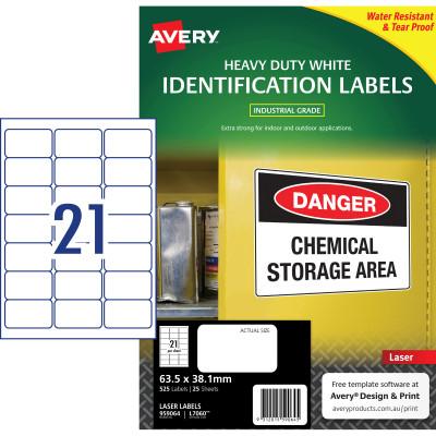 AVERY L7060 DURABLE H/D LABEL Laser 21/Sht 63.5x38.1mm Wht Pack of 525