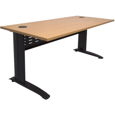 Rapid Span Open Straight Desk 1800Wx700mmD Modesty Panel With Beech Top & Black Steel Frame