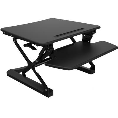 Rapid Riser Manual Lift Desk Top Sit Stand Unit 680Wx590mmD Single Monitor Black
