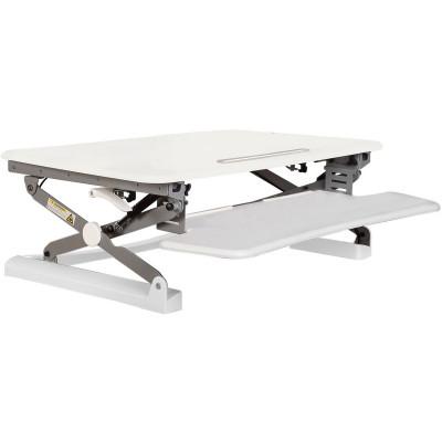 Rapid Riser Manual Lift Desk Top Sit Stand Unit 680Wx590mmD Single Monitor White
