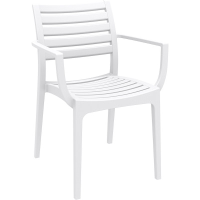 Artemis Hospitality Dining Chair With Arms Indoor/Outdoor Use White Polypropylene
