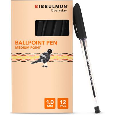 Bibbulmun Ballpoint Pen Medium 1mm Black Pack of 12