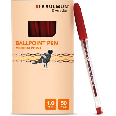 Bibbulmun Ballpoint Pen Medium 1mm Red Pack of 50