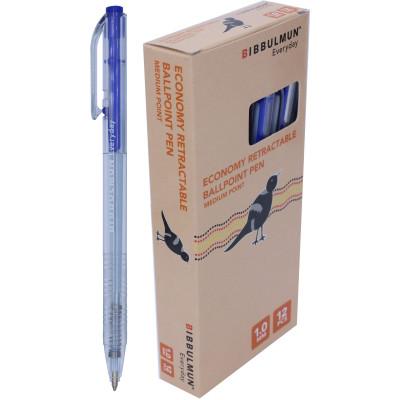 Bibbulmun Retractable Ballpoint Economy Pen Medium 1mm Blue Pack of 12